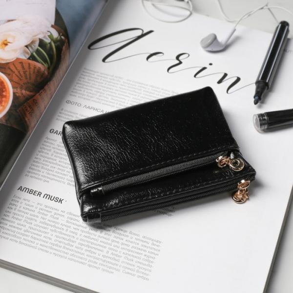 Ключница-кошелёк, отдел на молнии, наружный карман, с кольцом, цвет чёрный