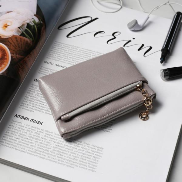 Ключница-кошелёк, отдел на молнии, наружный карман, с кольцом, цвет серый