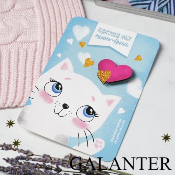 Фото Сумки Детский подарочный набор сумка + брошь, цвет малиновый