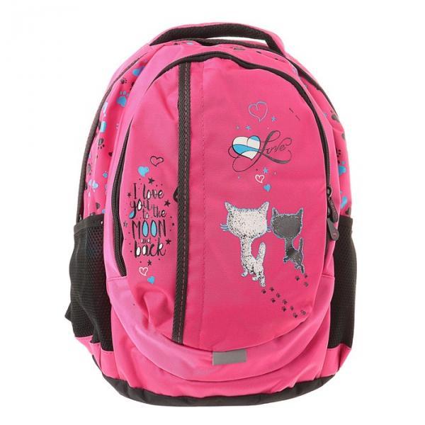 """Рюкзак Stavia 44*30*17 для девочек, """"Два кота"""", розовый"""