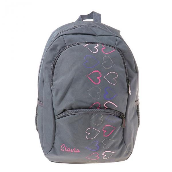 """Рюкзак Stavia 40*30*13 для девочек, """"Сердечки"""", серый/розовый"""