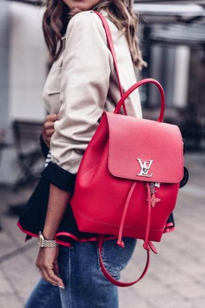 """Рюкзак женский кожаный """"Луи Виттон"""" красный премиум качество"""