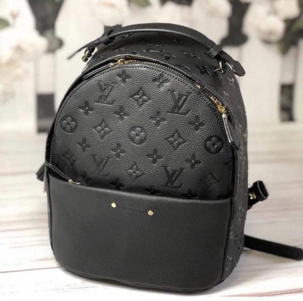 """Рюкзак мини женский кожаный """"Луи Виттон"""" черный с монограммой премиум качество"""