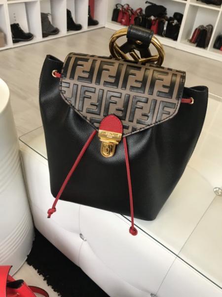 """Рюкзак женский кожаный """"Фенди"""" черный с коричневым премиум качество"""