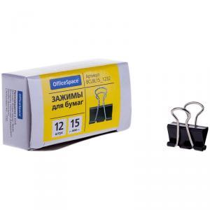 Зажимы для бумаг 15мм, 12шт., черные, картонная коробка