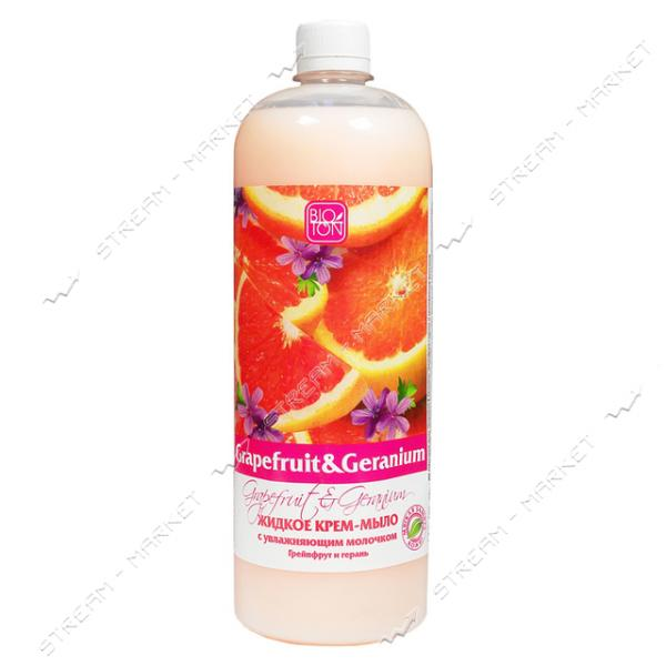Крем-мыло жидкое Bioton Cosmetics Грейпфрут и Герань с увлажняющим молочком 1 л