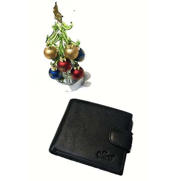 Мужской кошелек средний кожа Moro Артикул 208B черный
