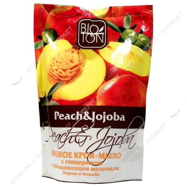 Крем-мыло жидкое Bioton Cosmetics Персик и Жожоба с увлажняющим молочком дой-пак 500 мл