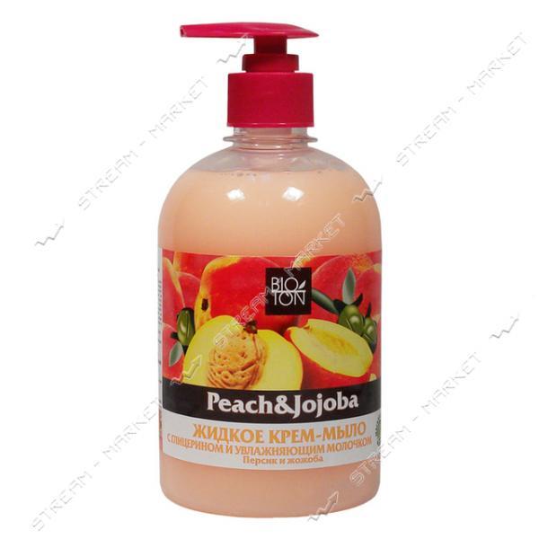 Крем-мыло жидкое Bioton Cosmetics Персик и Жожоба с увлажняющим молочком с дозатором 500 мл