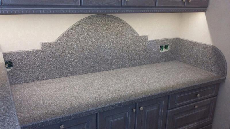 Столешница и Стеновая панель (скиналь) фигурная из искусственного камня на заказ в Гродно