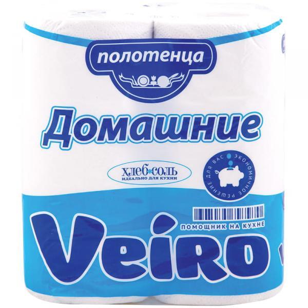 """Полотенца бумажные Veiro """"Домашние"""" в рулонах , 2-х слойн., 12,5 м/рул, белые, 2шт,уп."""