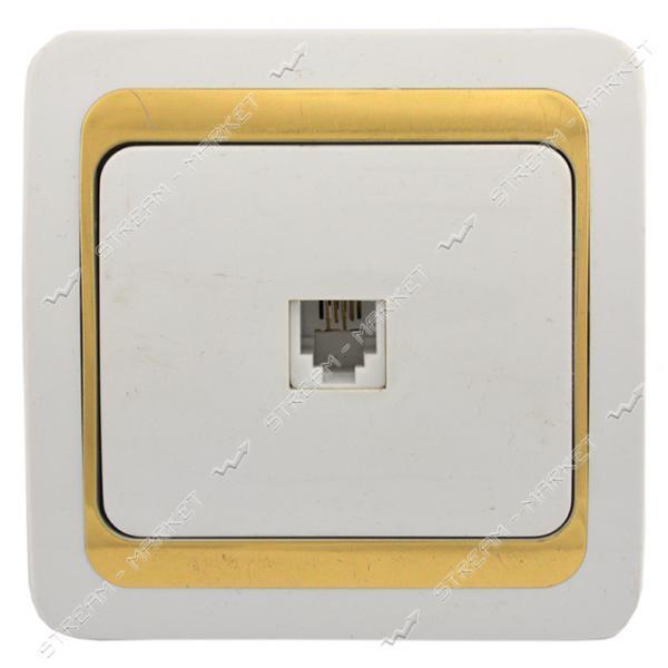Розетка телефонная Wega с золотой вставкой белая 10шт