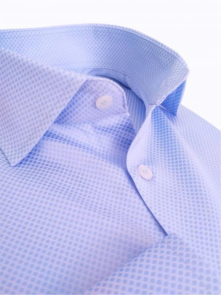 Фото Мужские рубашки Рубашка мужская Michael Schaft Голубая фактурная Slim Fit