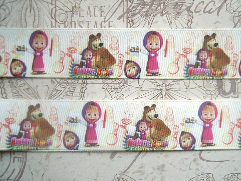 Фото Ленты, Лента репсовая с рисунком Репсовая лента 2,5 см. Маша и Мишка.