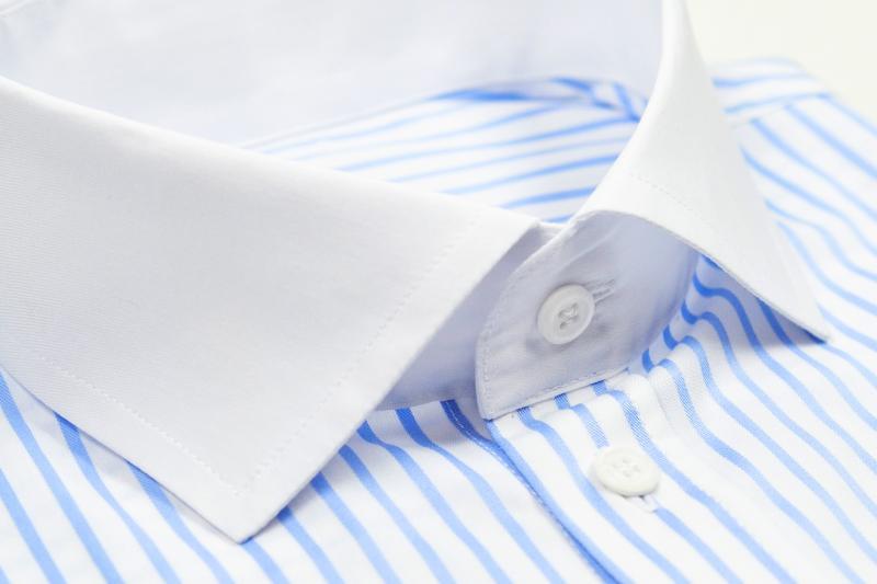 Фото Мужские рубашки Рубашка мужская Michael Schaft в голубую полоску с белым воротником Slim Fit