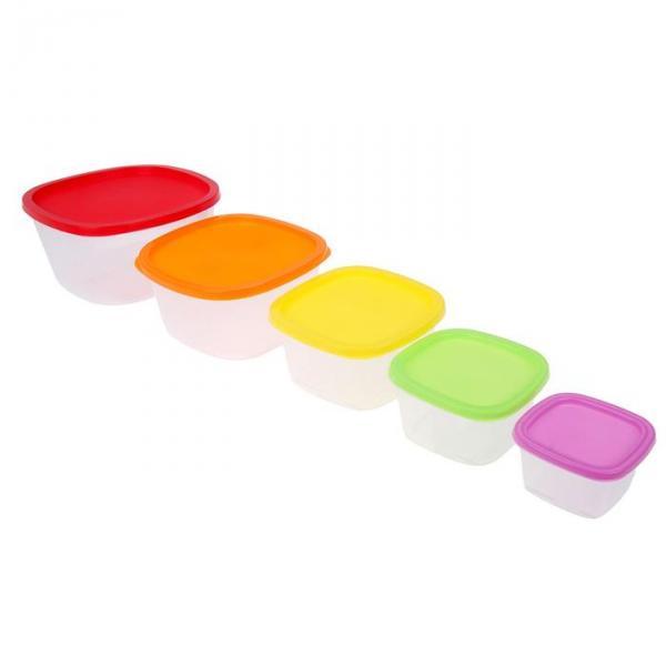 Набор квадратных контейнеров BioFresh, 5 шт: 0,23 л, 0,5 л, 0,9 л, 1,55 л, 2,65 л, цвет МИКС