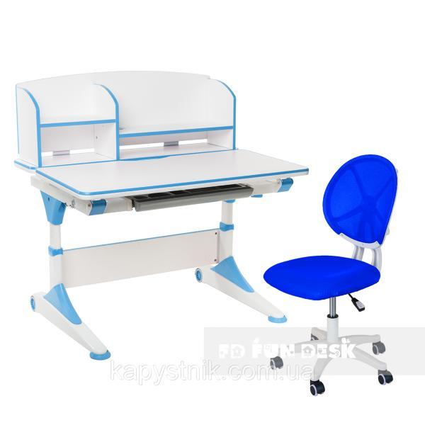 Комплект парта для подростка Trovare Blue с надстройкой + детское ортопедическое кресло LST1 Blue FunDesk