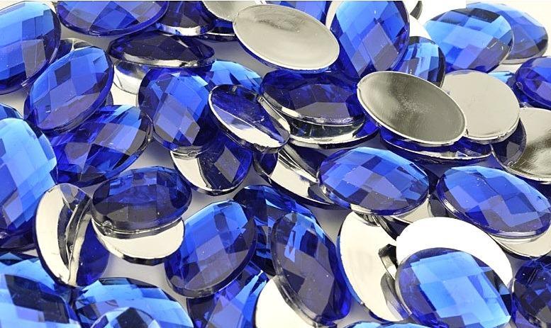 Фото Серединки ,кабашоны, Кабашоны, камеи Кабашон  стекляный , Синий , гранёный  13 * 18 мм.