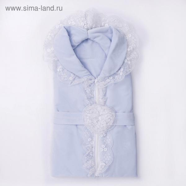 Конверт-одеяло (велюр) К129, голубой, размер 100*87
