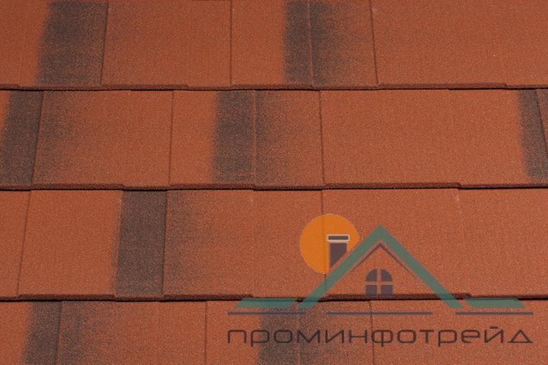 Фото Композитная черепица, Metrotile, Европейский стиль Shingle Композитная черепица Metrotile Shingle (Red-brown)