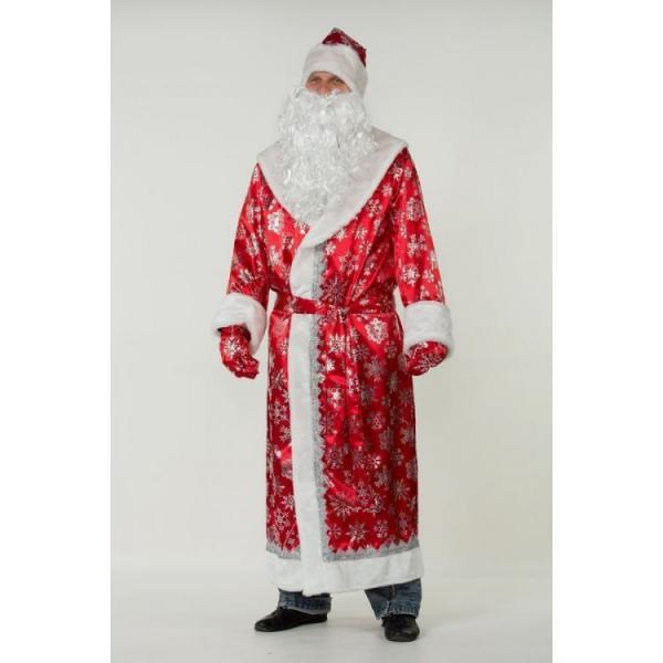Карнавальный костюм Дед Мороз сатин красный взрослый