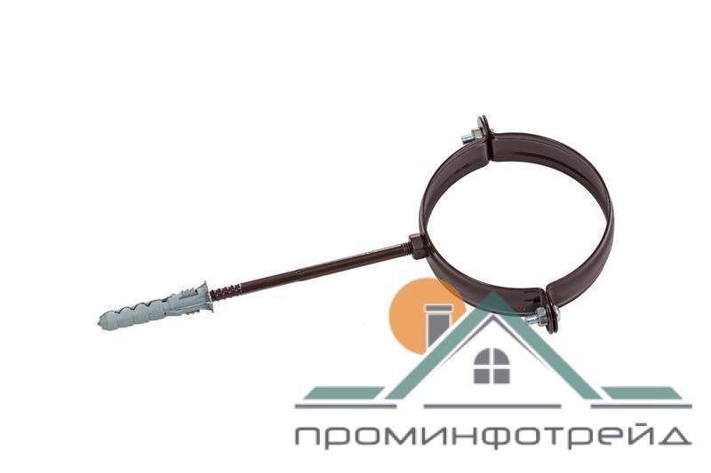 Фото Водосточные системы PROFiL – пластиковые водосточные системы - Держатель трубы металл. L160 130 коричневый