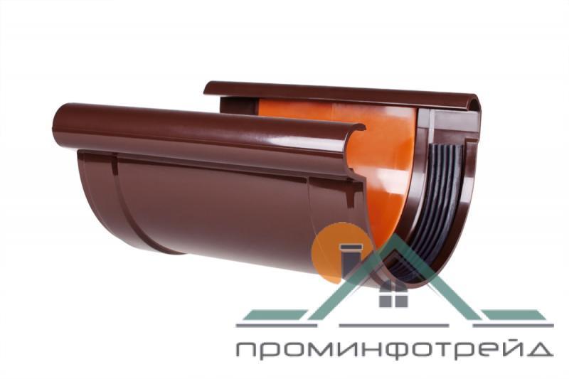 Фото Водосточные системы PROFiL – пластиковые водосточные системы - Соединитель желоба 130 коричневый
