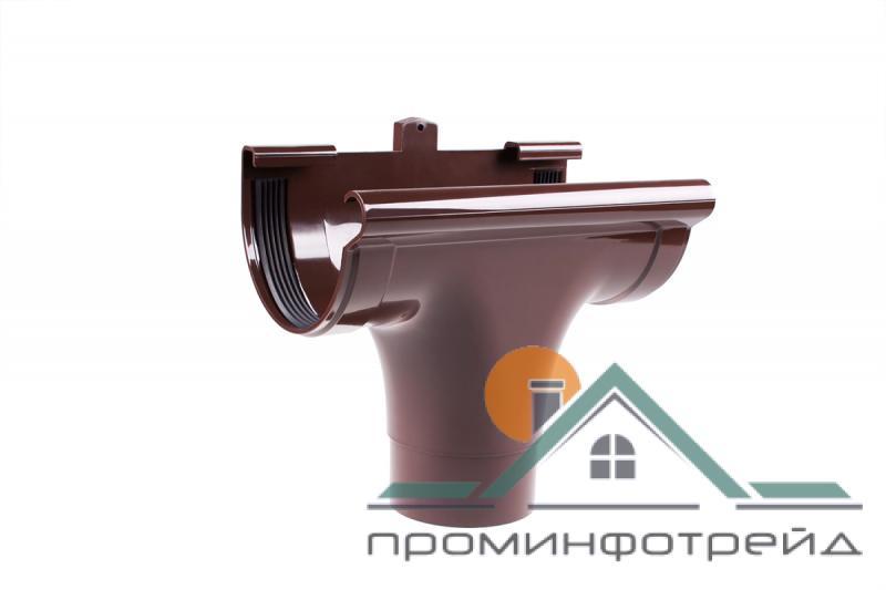 Фото Водосточные системы PROFiL – пластиковые водосточные системы - Ливнеприемник проходной 90 коричневый