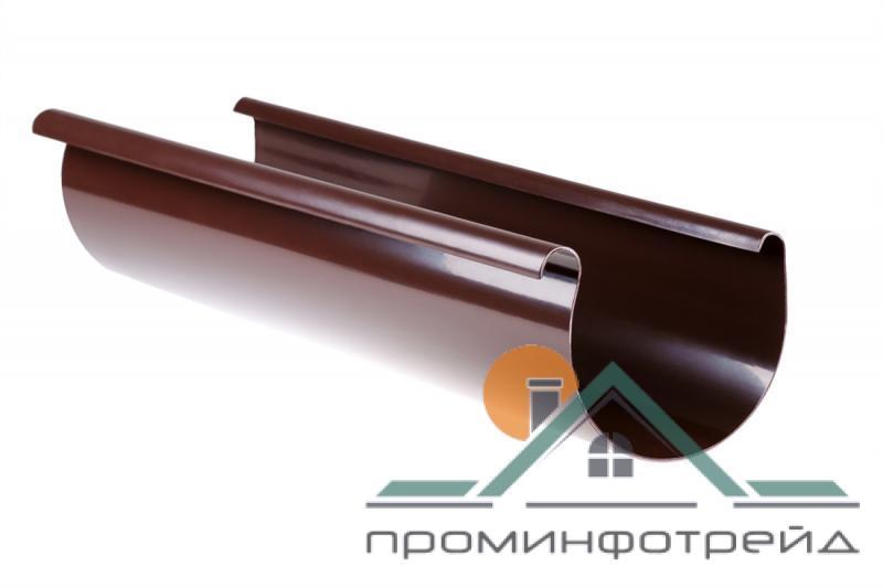Фото Водосточные системы PROFiL – пластиковые водосточные системы - Желоб 130 коричневый 3 м