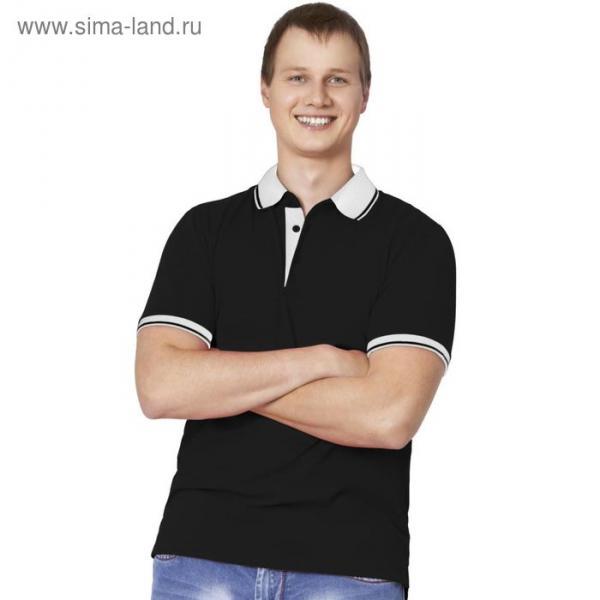 Рубашка-поло мужская StanContrast, размер 44, цвет чёрный 185 г/м