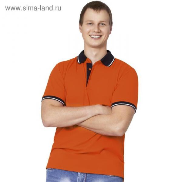 Рубашка-поло мужская StanContrast, размер 54, цвет оранжевый 185 г/м
