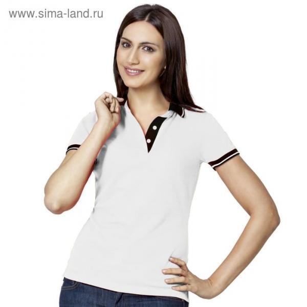 Рубашка-поло женская StanContrast, размер 42, цвет белый 185 г/м