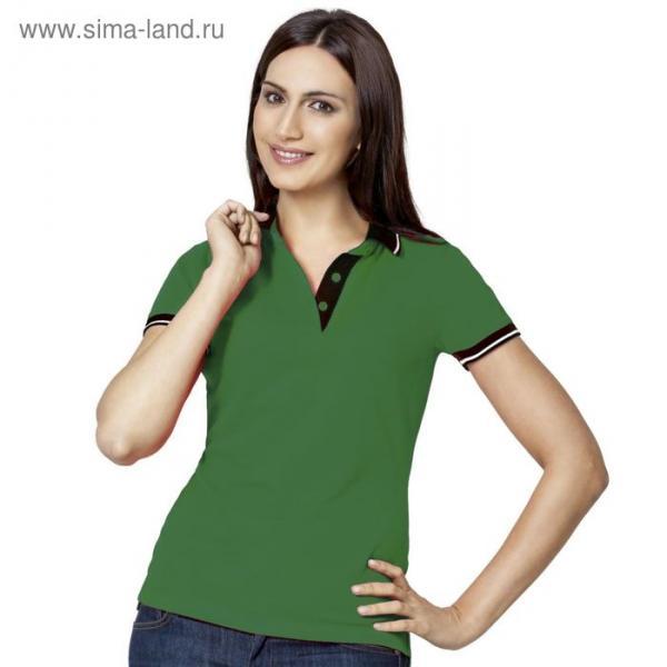 Рубашка-поло женская StanContrast, размер 42, цвет зелёный 185 г/м