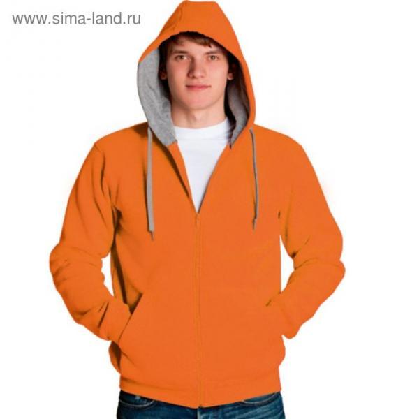 Толстовка мужская StanStyle, размер 52, цвет оранжевый-серый меланж 280 г/м