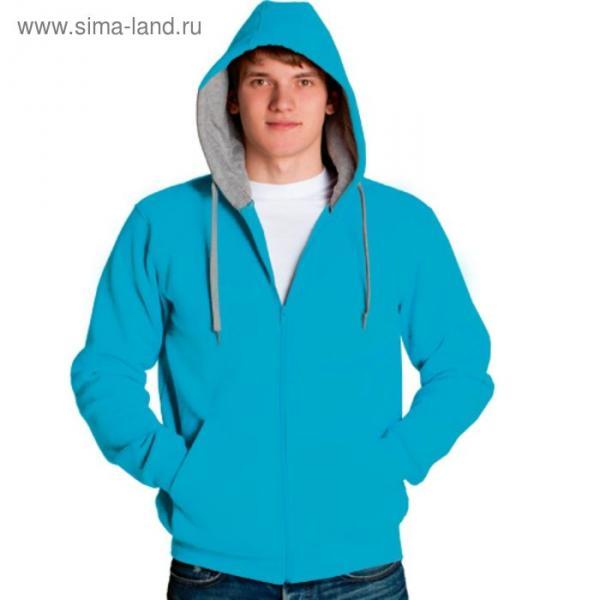 Толстовка мужская StanStyle, размер 56, цвет бирюзовый-серый меланж 280 г/м
