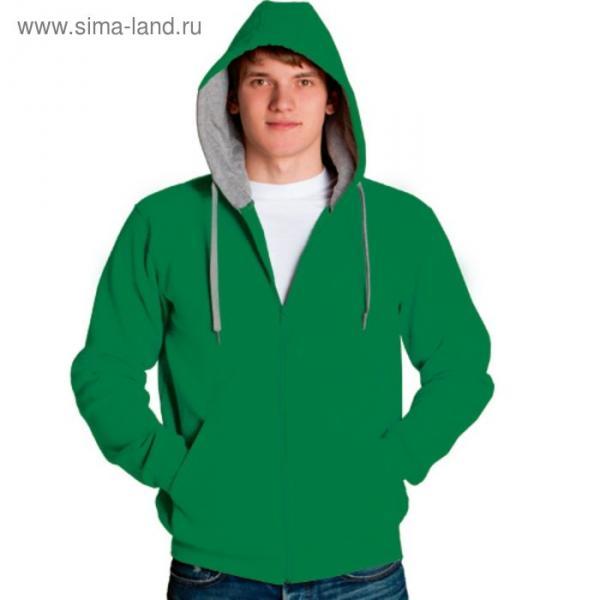 Толстовка мужская StanStyle, размер 50, цвет зелёный-серый меланж 280 г/м