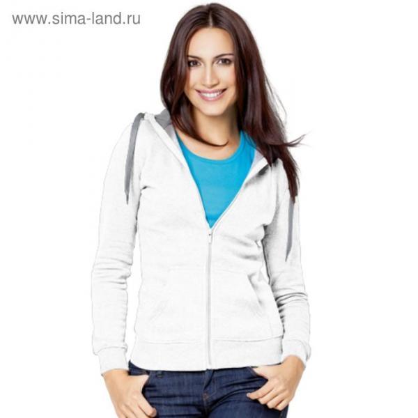 Толстовка женская StanStyle, размер 50, цвет белый-серый меланж 280 г/м