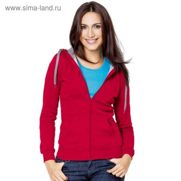 Толстовка женская StanStyle, размер 52, цвет красный-серый меланж 280 г/м