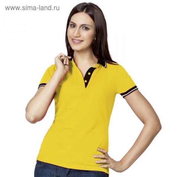 Рубашка-поло женская StanContrast, размер 48, цвет жёлтый 185 г/м