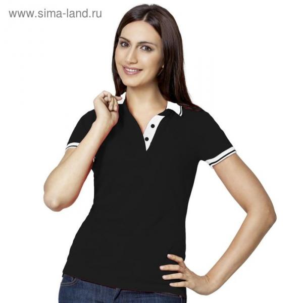 Рубашка-поло женская StanContrast, размер 52, цвет чёрный 185 г/м