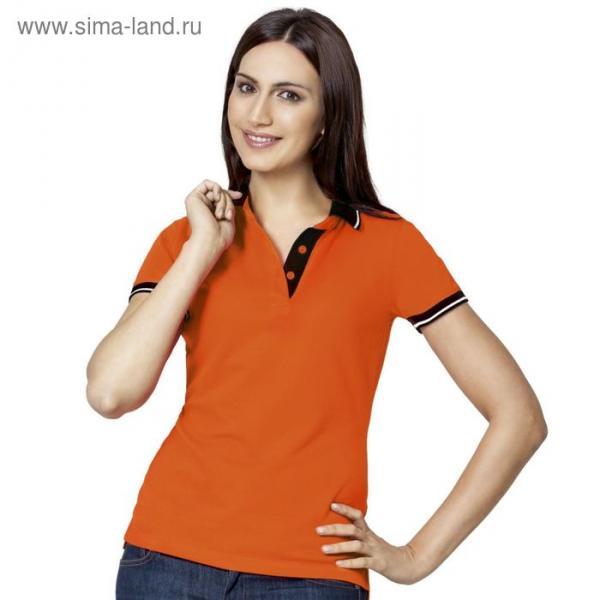 Рубашка-поло женская StanContrast, размер 42, цвет оранжевый 185 г/м