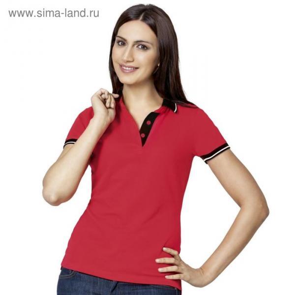 Рубашка-поло женская StanContrast, размер 44, цвет красный 185 г/м