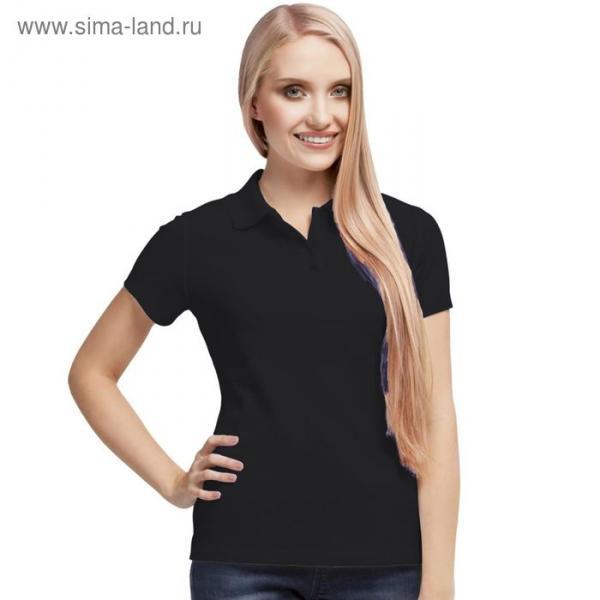 Рубашка-поло женская StanPoli, размер 42, цвет чёрный 180 г/м
