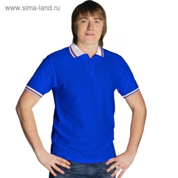 Рубашка-поло мужская StanRussian, размер 54, цвет синий-белый 185 г/м