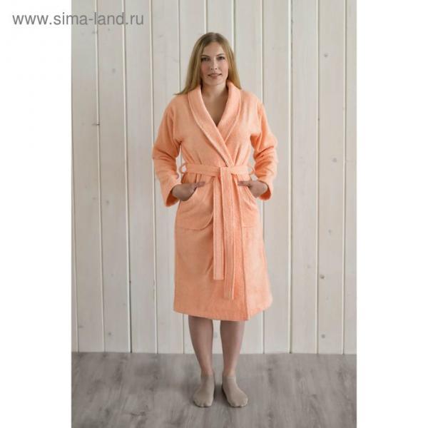 Халат женский шалька+кант, размер 52, персиковый, махра