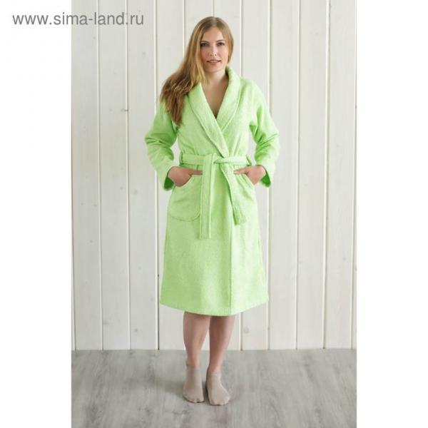 Халат женский, шалька+кант, размер 56, салатовый, махра