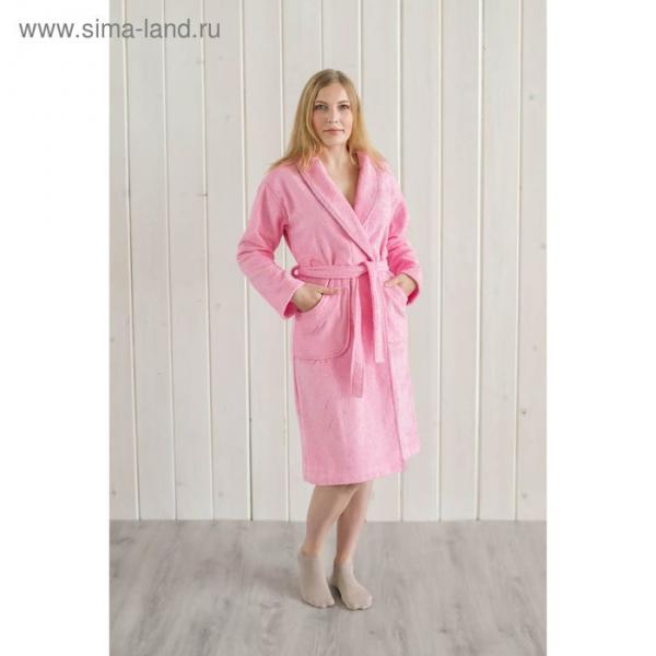 Халат женский шалька+кант, размер 46, розовый, махра