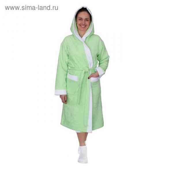 Халат женский, размер 56, белый/салатовый, махра