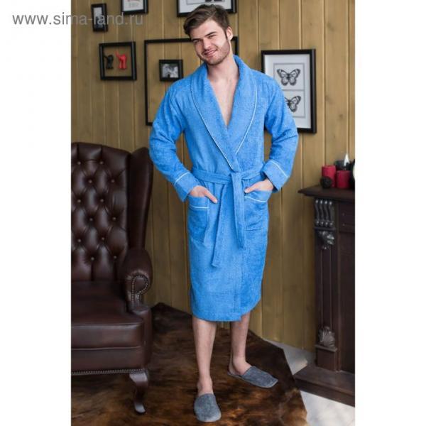 Халат мужской, шалька/кант, размер 48, синий, махра