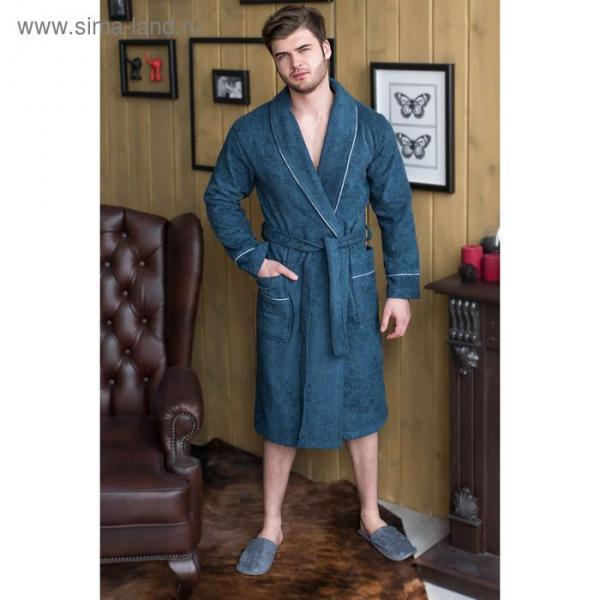 Халат мужской, шалька/кант, размер 56, тёмно-синий, махра